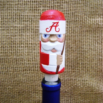alabama crimson tide santa handcarved wine stopper