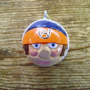 Auburn Tigers Handcarved Golf Ball Santa Christmas Ornament