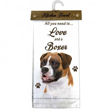 Boxer Dog Kitchen Tea Towel
