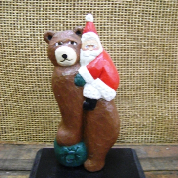 Handcarved Wooden Statue | Santa Riding a Bear