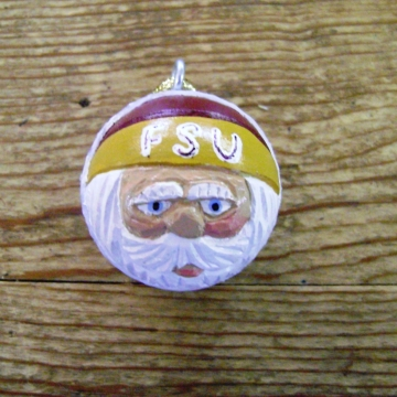 Handcarved Golf Ball Santa Ornament | Florida State University Seminoles