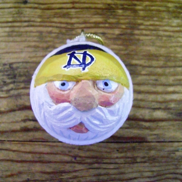 Handcarved Golf Ball Santa Ornament | University of Notre Dame Fighting Irish